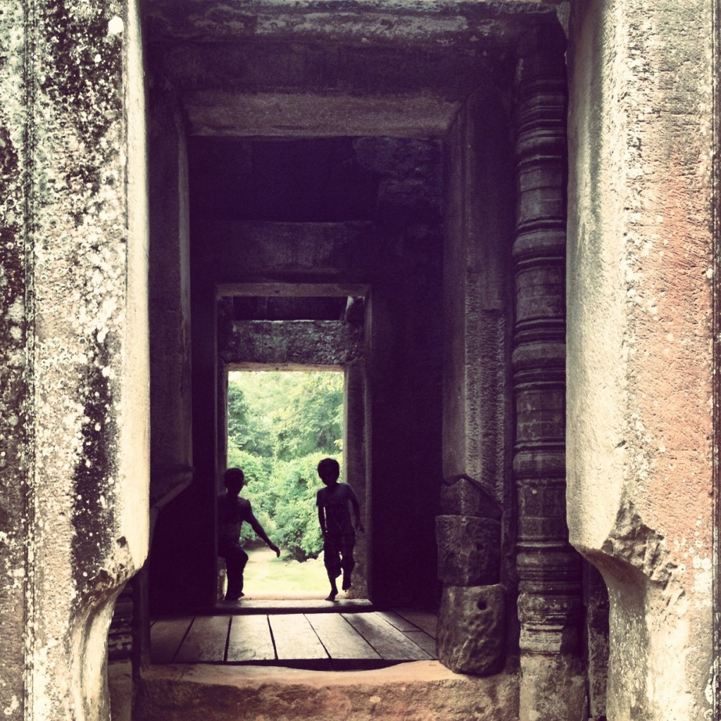 Two brothers at the Angkor Wat Ruins in Cambodia
