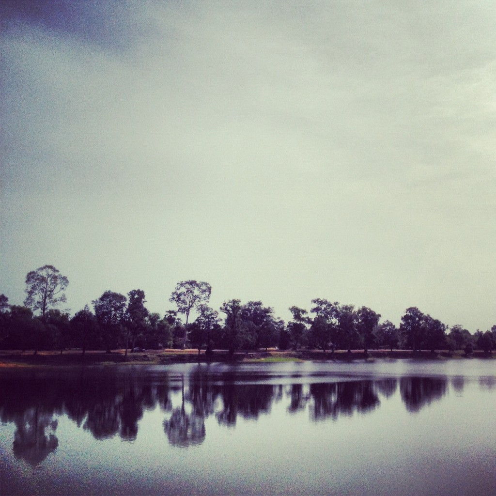 The lake outside of the Angkor Wat Temple