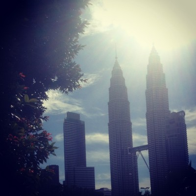 Our first view of the KLCC in Kuala Lumpur, Malaysia