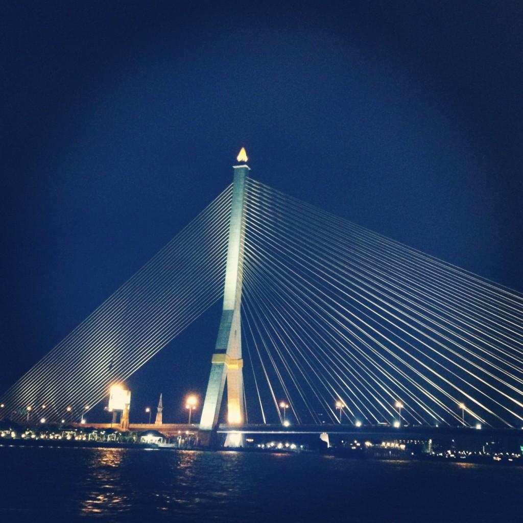 The Rama VIII Bridge in Bangkok, Thailand