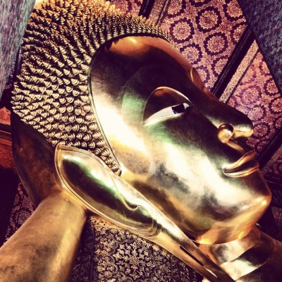 The head of the Reclining Buddha in Wat Pho