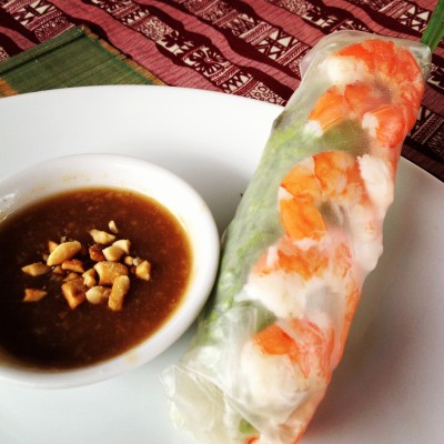 Dish #1 of cooking lesson in Hoi An: Shrimp spring roll