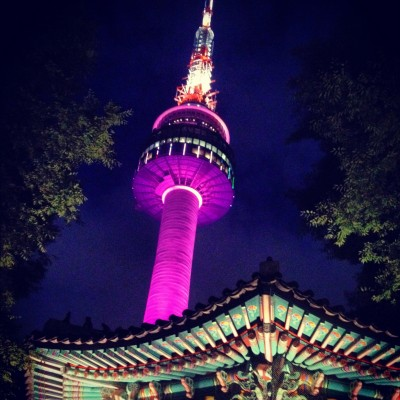 Seoul Tower lit up at night