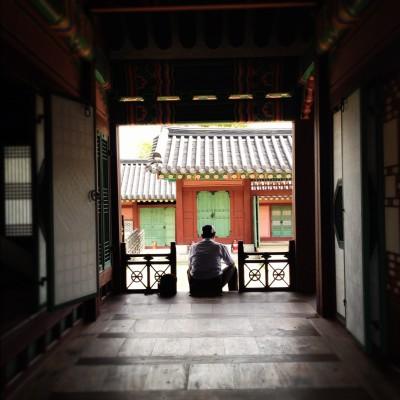 Taking a break inside Seoul Palace