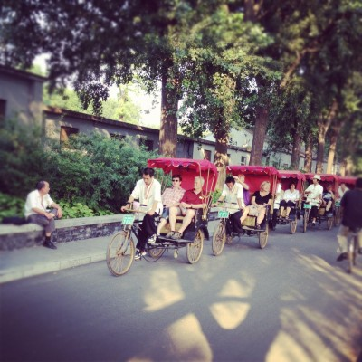 Rickshaws carrying tourists around the lake