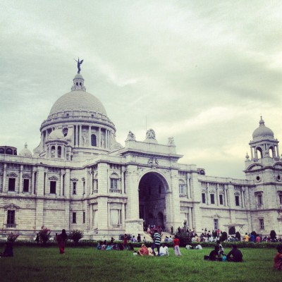 Sitting on the lawn outside the Victoria Memorial
