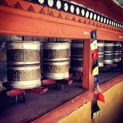 Prayer wheels. Clockwise spins bring good fortune and answered prayers.
