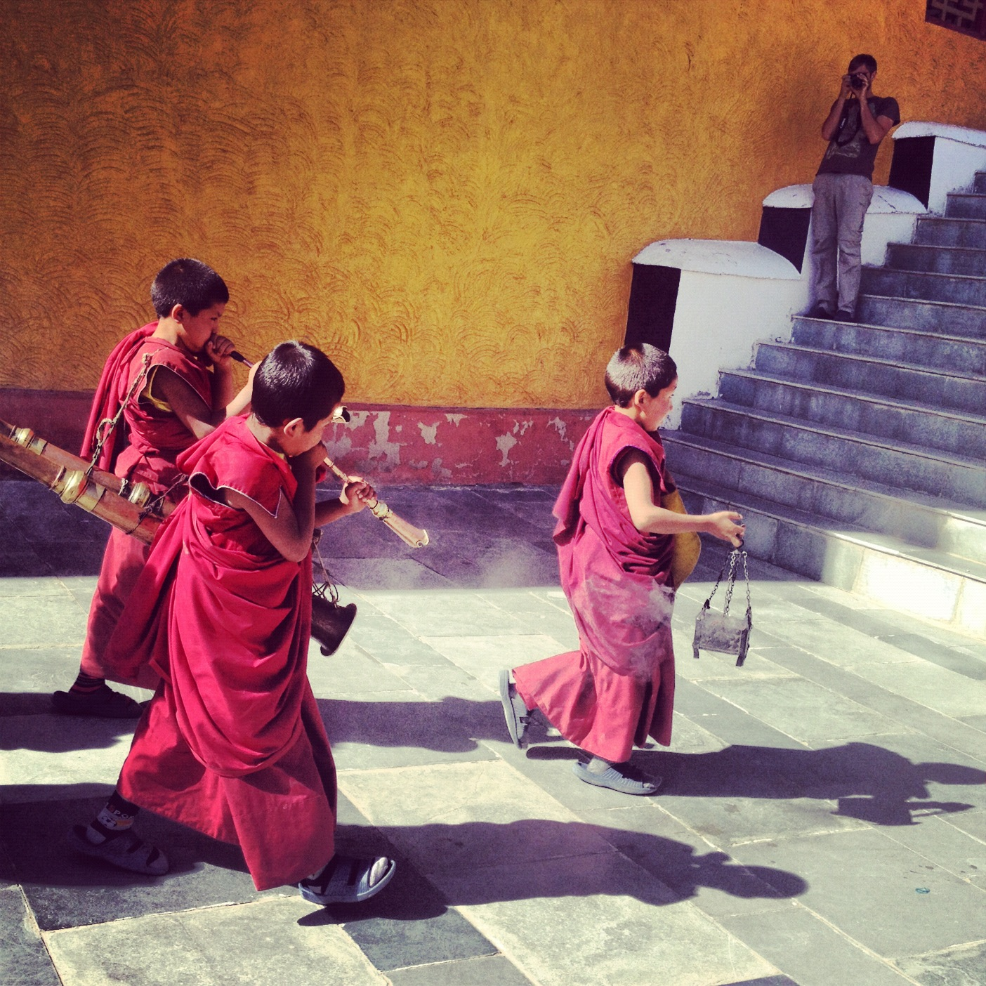 Monks in training at The Thiksey Monastery, in Ladakh, India