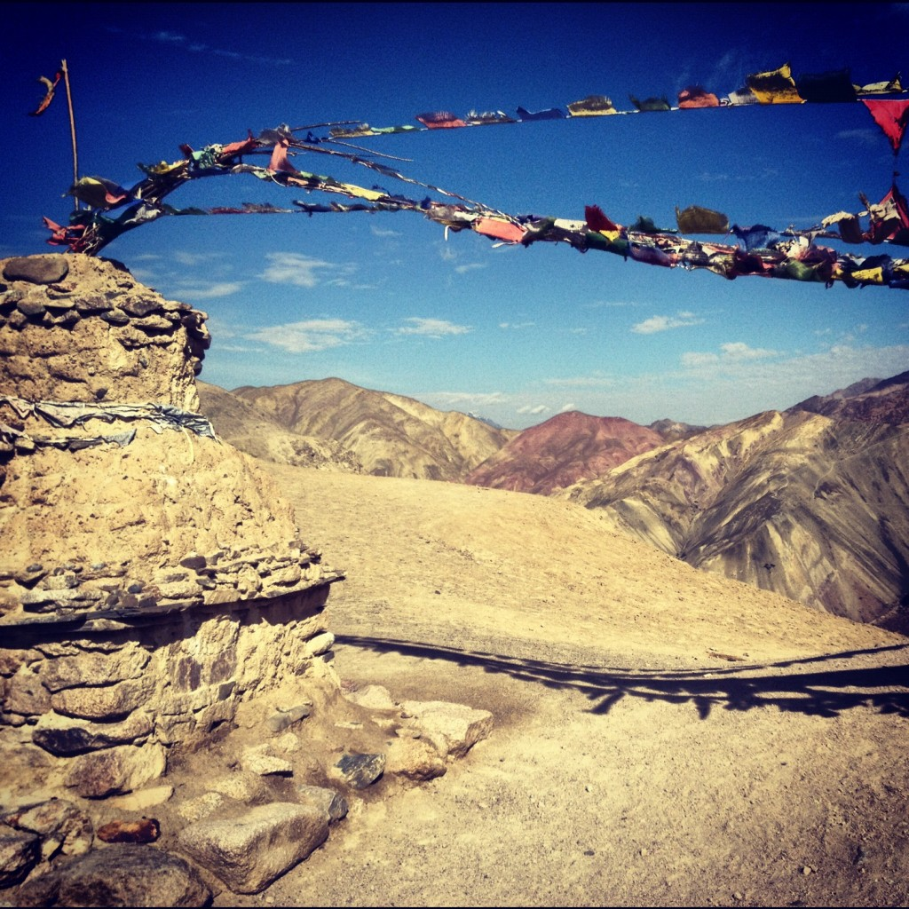 Prayer flags blowing in the wind.
