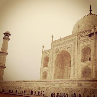 Lining up to go into the Taj Mahal