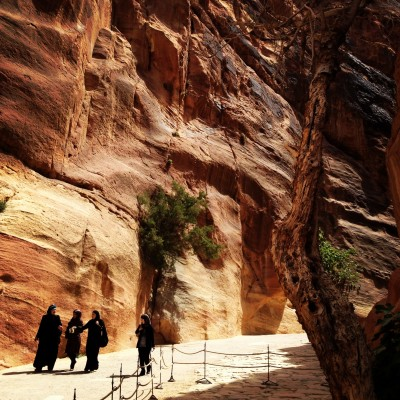 Strolling into the Siq, the passageway leading into Petra